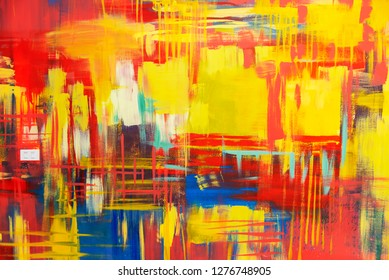 Abstract background from colorful painted on concrete wall. Art vintage backdrop. Hot color tone.