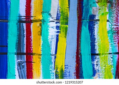 Abstract background of colorful paints drawing on wood stripes