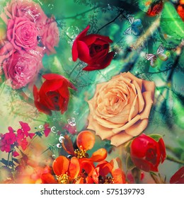 abstract background composition with flowers. Different roses collage.