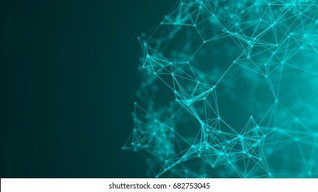Abstract background with connection dots. 3d rendered