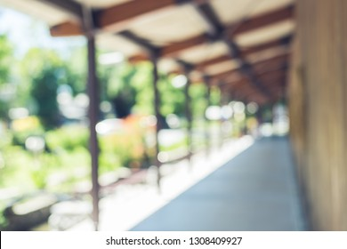 abstract background of corridor at station in the daytime