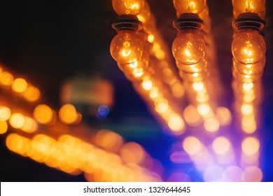 Abstract background of creative ideas concept from lightbulb and bokeh, Object design with grain texture