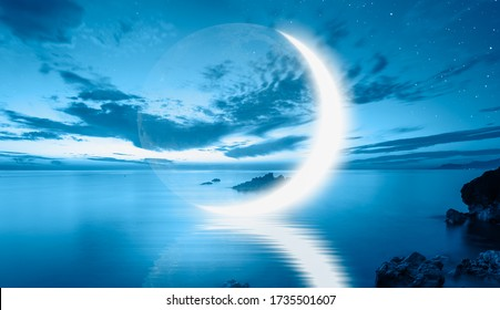 Abstract background - Crescent moon over the sea with lot of stars and nebula at night