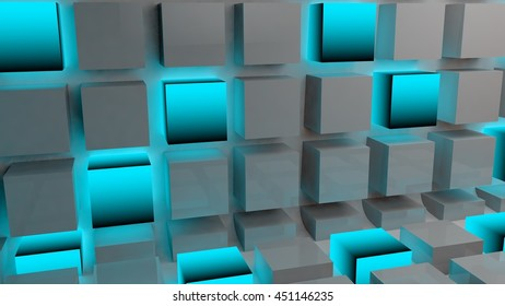 Abstract background with cube and blue glow glowing technology wallpaper texture