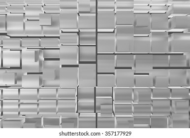 Abstract background with cubes of metallic colors