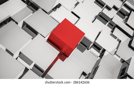 abstract background of cubes.concept of unique, different 3D rendered