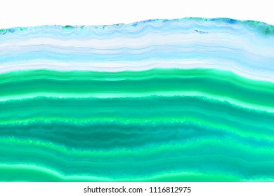 Abstract background - cyan agate slice mineral isolated on white background