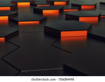 Abstract background design orange and black. 3d rendering