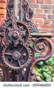 Abstract background with Details clockwork. old rusty screws