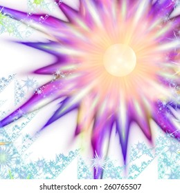 Abstract background with digitally recreated colorful floral patterns.