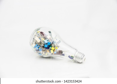 Abstract Background of electronic technology with an new inovation idea, electronics component put in the bulb.
