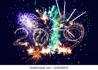 Abstract background. Fireworks circle blur. Colorful in celebration. Background festive New Year 2019