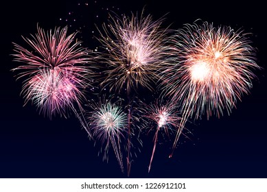 Abstract background. Fireworks circle blur. Colorful in celebration. Background festive New Year