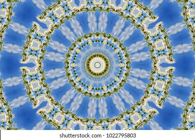 abstract background of floral pattern of a kaleidoscope. white blue green background fractal mandala. abstract kaleidoscopic arabesque. geometrical ornament flower pattern