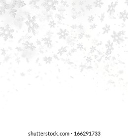 Abstract background with flying snowflakes