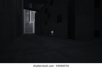 Abstract background in the form of high-rise buildings made of dark concrete.. Night view of the illuminated. 3D illustration and rendering