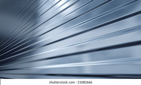 An abstract background in the form of three-dimensional model of corrugated sheet metal, reflecting light