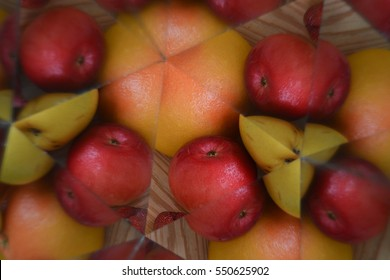 Abstract background, fruits and vegetables, kaleidoscope effect