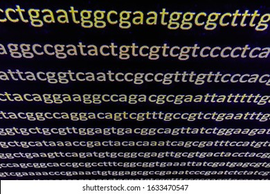 Abstract background, genetic code. Sequence of nucleotide bases in a DNA fragment.