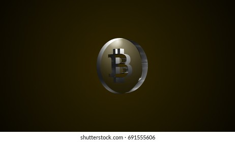 Abstract background with glass bitcoin sign. Digital backdrop. 3D rendering