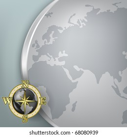 Abstract background with globe and gold compass