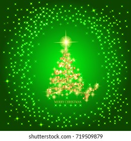 Abstract background with gold christmas tree and stars. Illustration in green and gold colors.