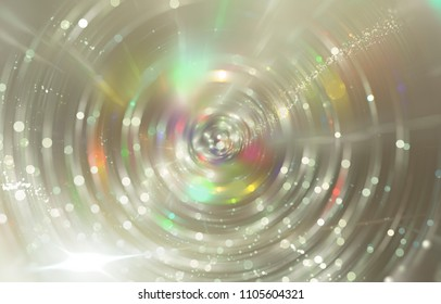 Abstract background gold tunnel. Beautiful illustration background with circles and particles.