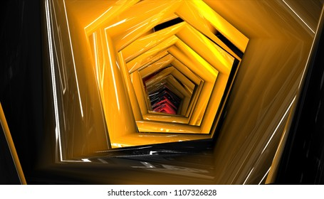 Abstract background gold tunnel. Illustration beautiful.