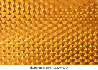 Abstract background from golden brick decorated on wall. Modern wallpaper.