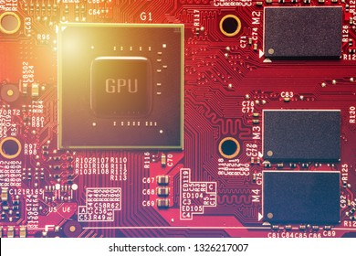 Abstract background of graphic processing unit (GPA) chip set on computer VGA card