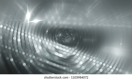 Abstract background gray tunnel. Beautiful illustration background with circles and particles.