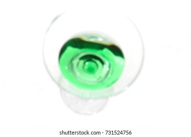 abstract background, green drink from above, blurred