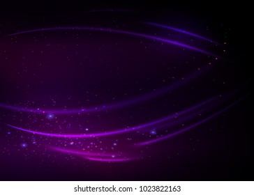 Abstract background with green magic lights. Gold glittering star dust with bokeh effect.