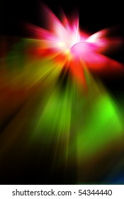 Abstract background in green and red tones.