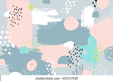 Abstract background with hand drawn textures, memphis style. Universal card, pastel colors. Retro design, fashion art