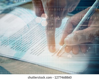 abstract background of hand signing contract and hand point finger at contract with digital symbol