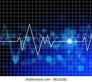 Abstract background. The heartbeat in the background of the monitor.