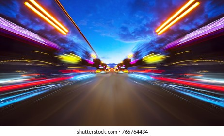Abstract background of high speed moving in night city
