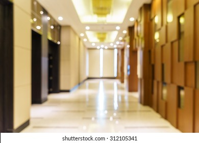 Abstract background of hotel interior, shallow depth and blurry focus.