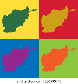 Abstract background illustration with map - Afghanistan
