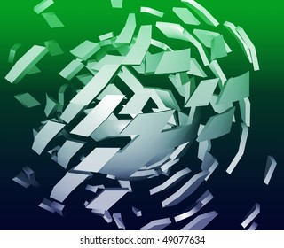 Abstract background illustration of shattered exploding geometric shapes