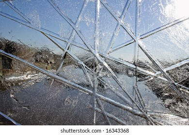 Abstract Background Image Of Landscape Viewed Through Ice