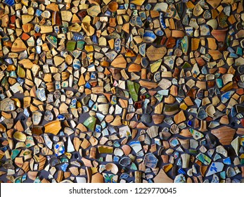 Abstract background image made of old antique beautiful color ceramic pots broken pieces