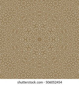 Abstract background, kaleidoscope tile pattern in gold colors. Mandala shape. Orient motif illustration