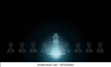 Abstract Background of Leadership stars. Leading people with futuristic innovation strategy using king and pawn chess set for business thinking and planning concept