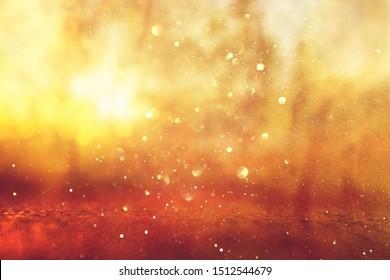 Abstract background of light burst among trees and glitter golden bokeh lights
