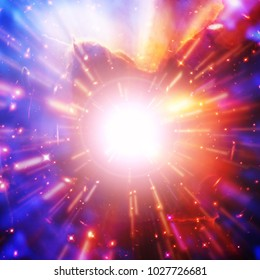Abstract background of light explosion. Starburst. Sunbeams. The elements of this image furnished by NASA.