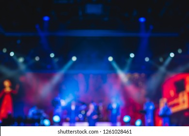 abstract background of light and smoke performance on stage