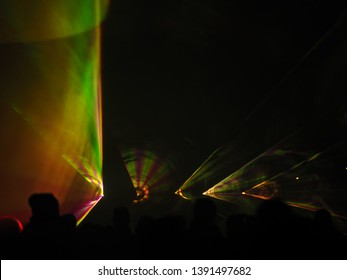 Abstract background with lots of spots, festival of lights. Concert or disco. Entertainment