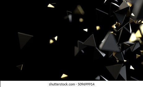 Abstract background macro particles. 3d rendering black and gold
